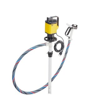 "Lutz Drum Pump - For Corrosive Acids & Bases - 47"" PVDF Tube - Electric - PVC Hose - 0205-202-1-w280px"