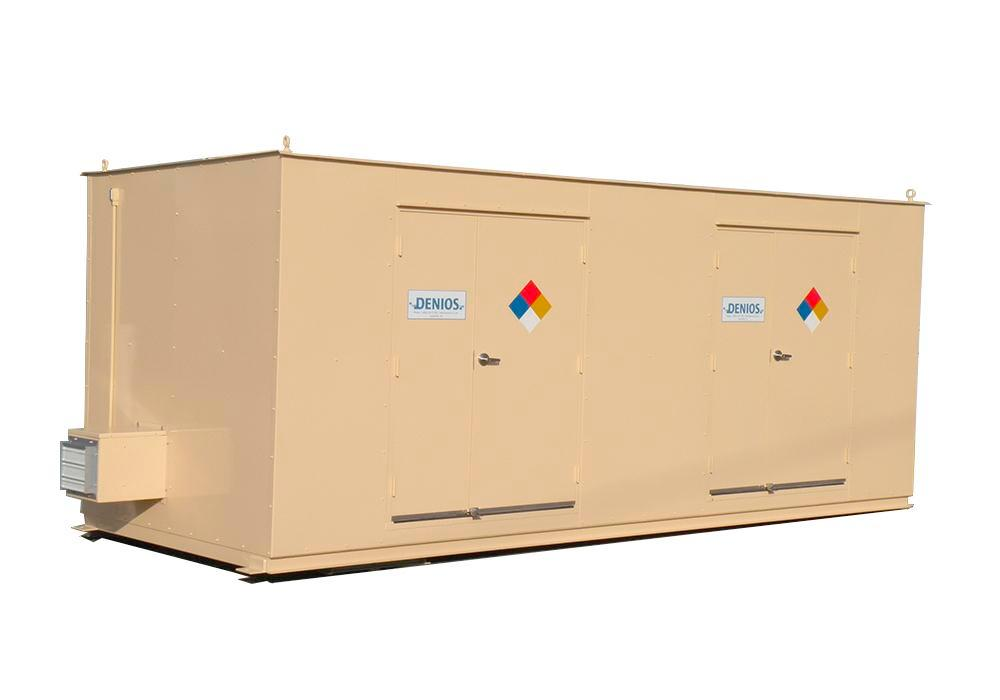 10' Chemical Storage Building - FM Approved - 16 Drum Capacity - Hinged Doors - Indoor or Outdoor