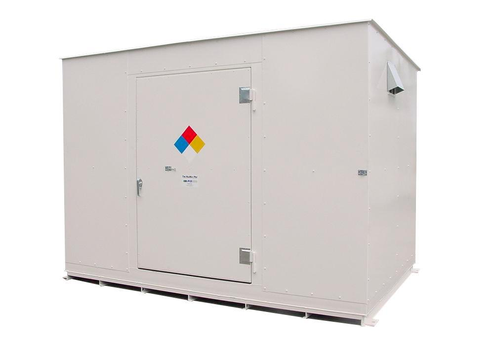10' Chemical Storage Building - FM Approved - 20 Drum Capacity - 4 Hour Fire Rated - Hinged Doors