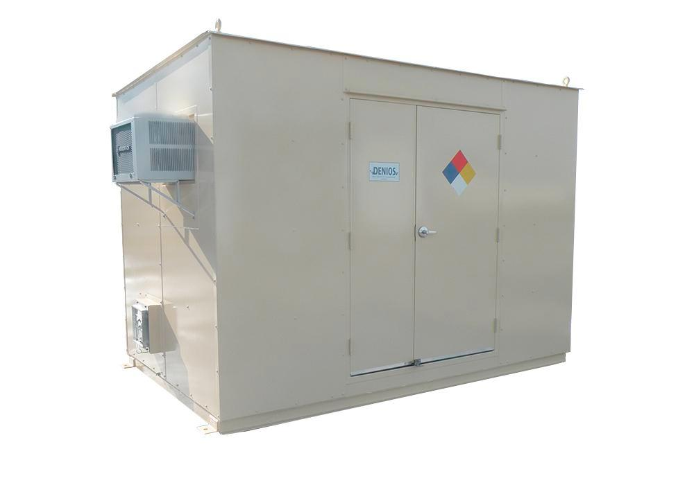 10' Chemical Storage Building - FM Approved - 24 Drum Capacity - Hinged Doors - Indoor or Outdoor