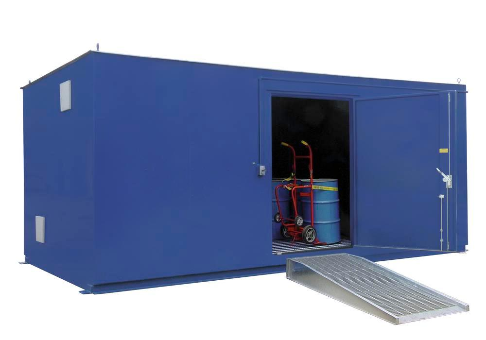 10' Chemical Storage Building - FM Approved - 40 Drum Capacity - Hinged Doors - Indoor or Outdoor - 1