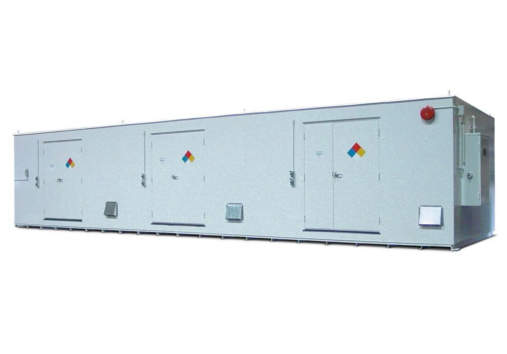 10' Chemical Storage Building - FM Approved - 76 Drum Capacity - Hinged Doors - Indoor or Outdoor - 1