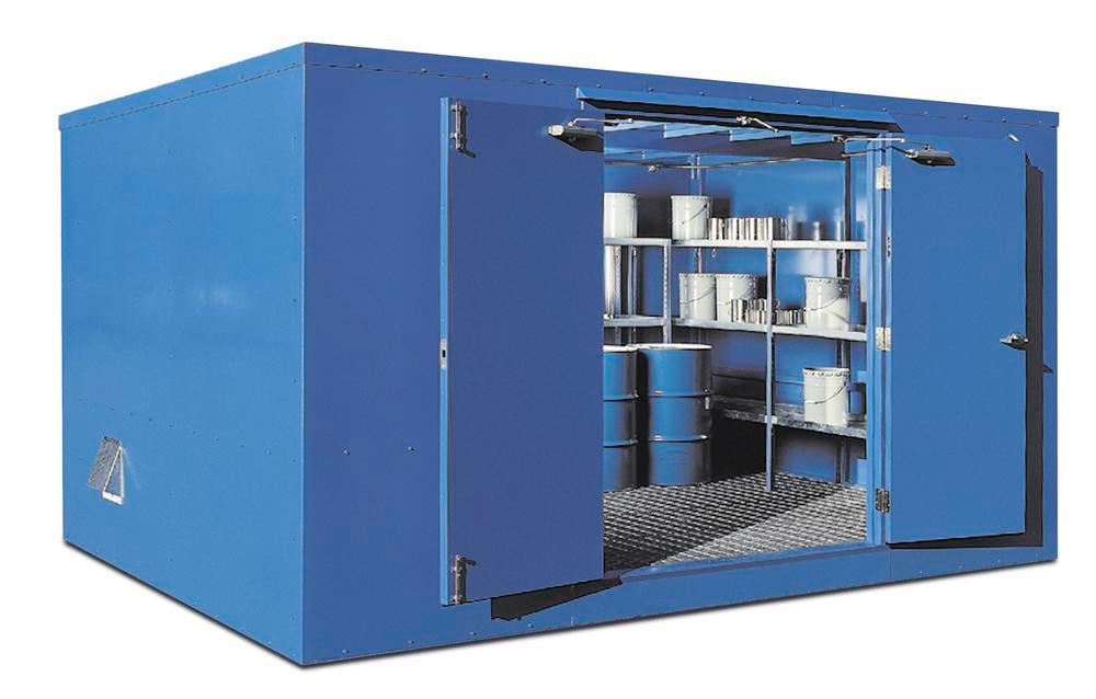 12' Chemical Storage Building - FM Approved - 35 Drum Capacity - Hinged Doors - Indoor or Outdoor - 1