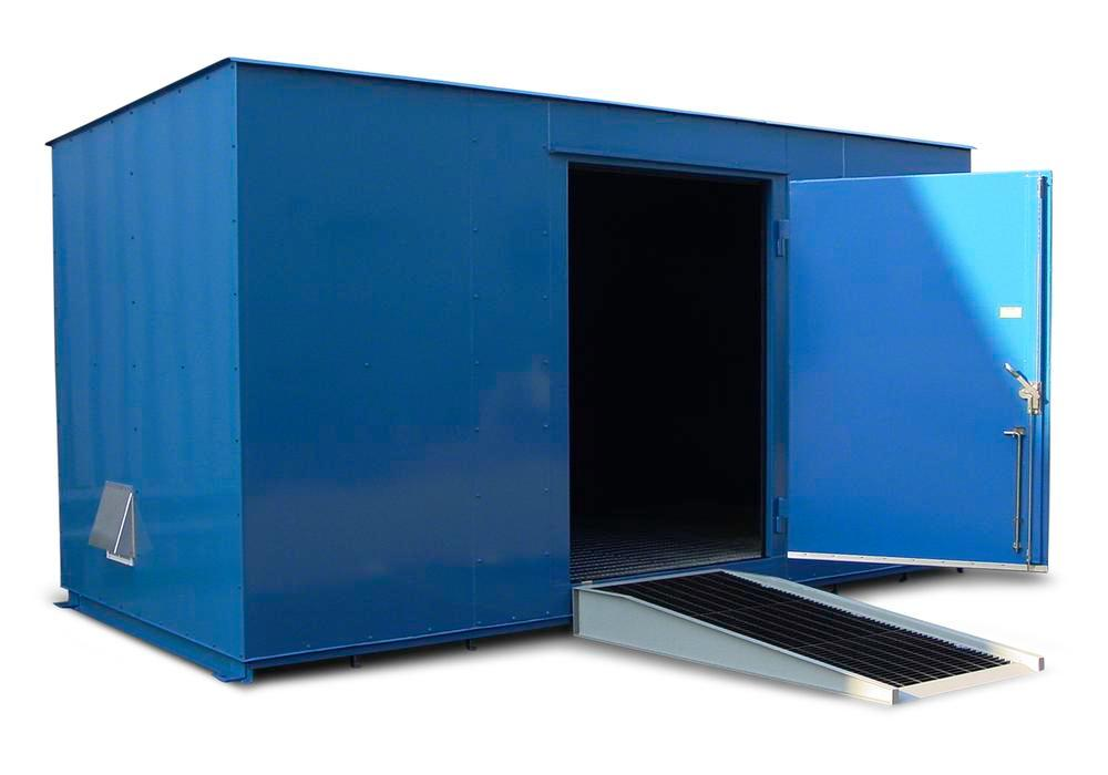 8' Chemical Storage Building - FM Approved - 27 Drum Capacity - Hinged Doors - Indoor or Outdoor - 1
