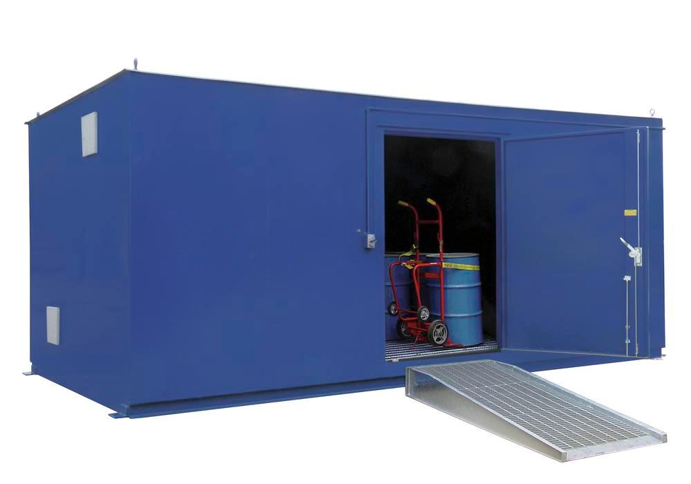 8' Chemical Storage Building - FM Approved - 33 Drum Capacity - Hinged Doors - Indoor or Outdoor