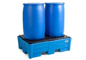 Poly Safe Spill Containment Pallet - 2 Drum Capacity - Safe Acid Storage - PE Grating-w280px