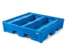 Poly Safe Spill Containment Pallet - 4 Drum Capacity - Safe Acid Storage - Forklift Access-w280px