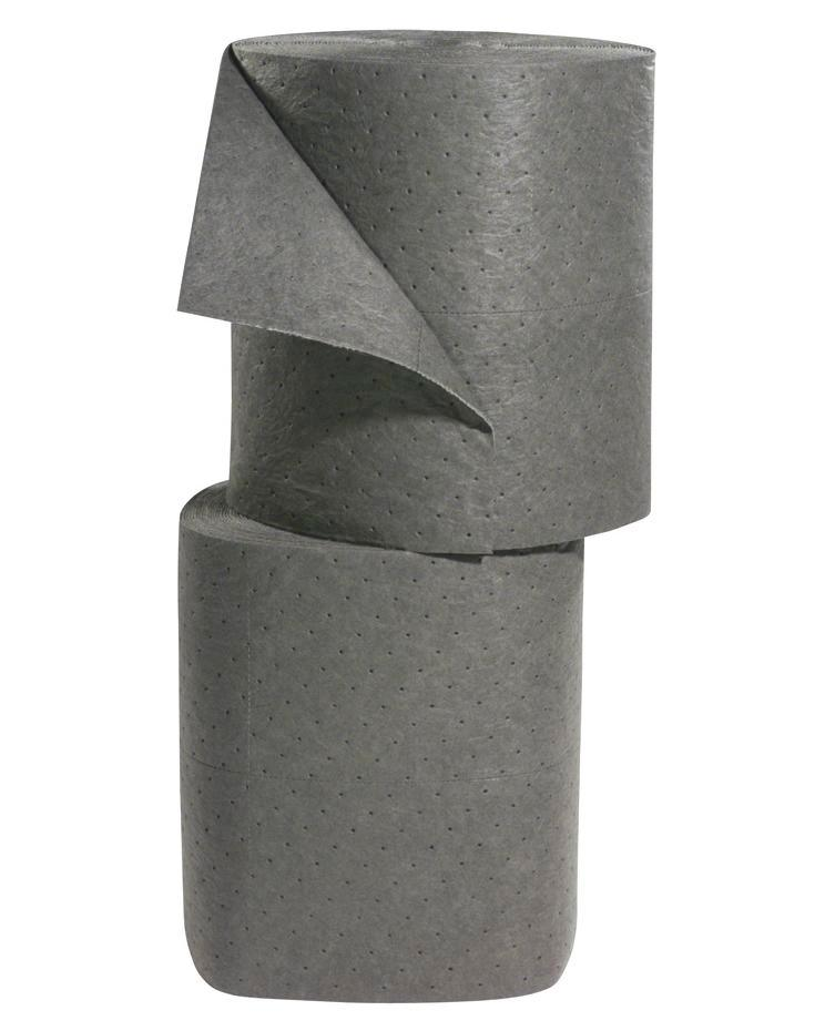 """Universal Absorbent Rolls - Heavy Weight - 15"""" x 150' - Perforated - Gray - 1"""