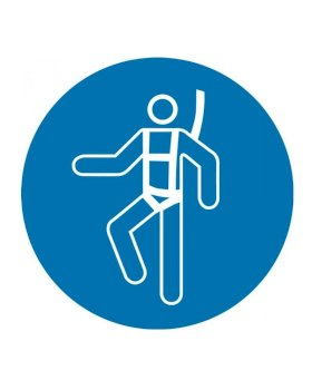 "ISO Mandatory Safety Sign: Wear Safety Harness (2011) - Aluminum - 12""-w280px"
