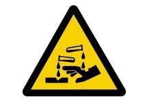"ISO Warning Safety Sign: Corrosive Substance (2011) - Plastic - 12""-w280px"