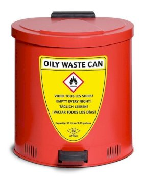 Waste Can - 35-Liter - Steel - Foot Lever Operated - Bottom Ventilation - Self-Closing Lid-w280px