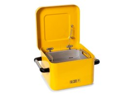 Dip Tank - 10-Liter - Galvanized Steel - FALCON - Powder-Coated Yellow - Parts Basket - Lid-w280px