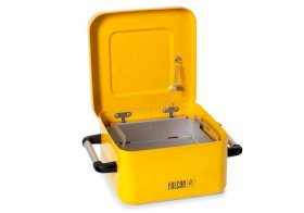 Dip Tank - 8-Liter - Galvanized Steel - FALCON - Powder-Coated Yellow - Parts Basket - Lid-w280px