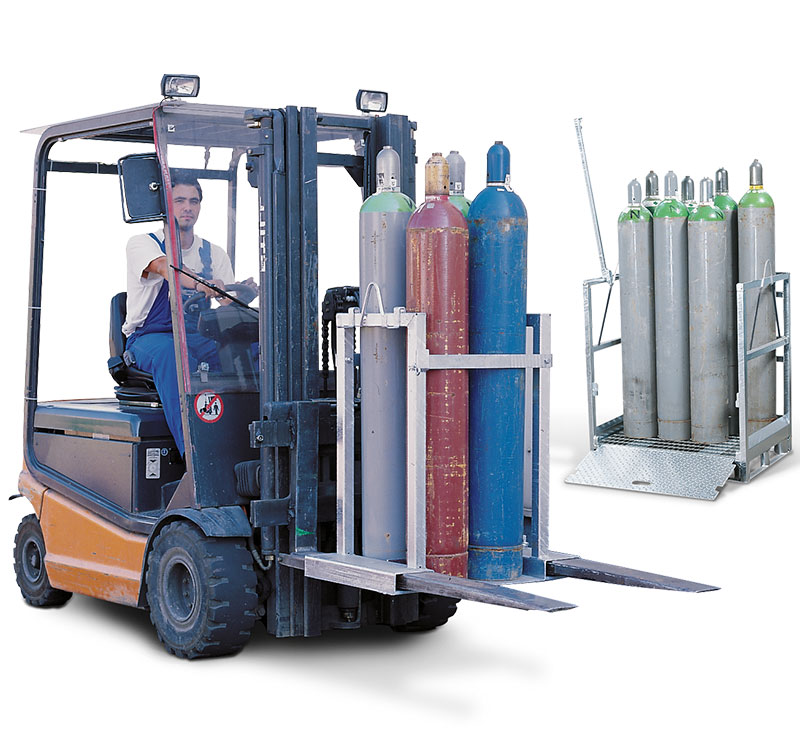 Transport racks and portable gas bottle pallets
